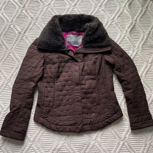 Nike Brown Quilted Jacket with Faux Fur Collar